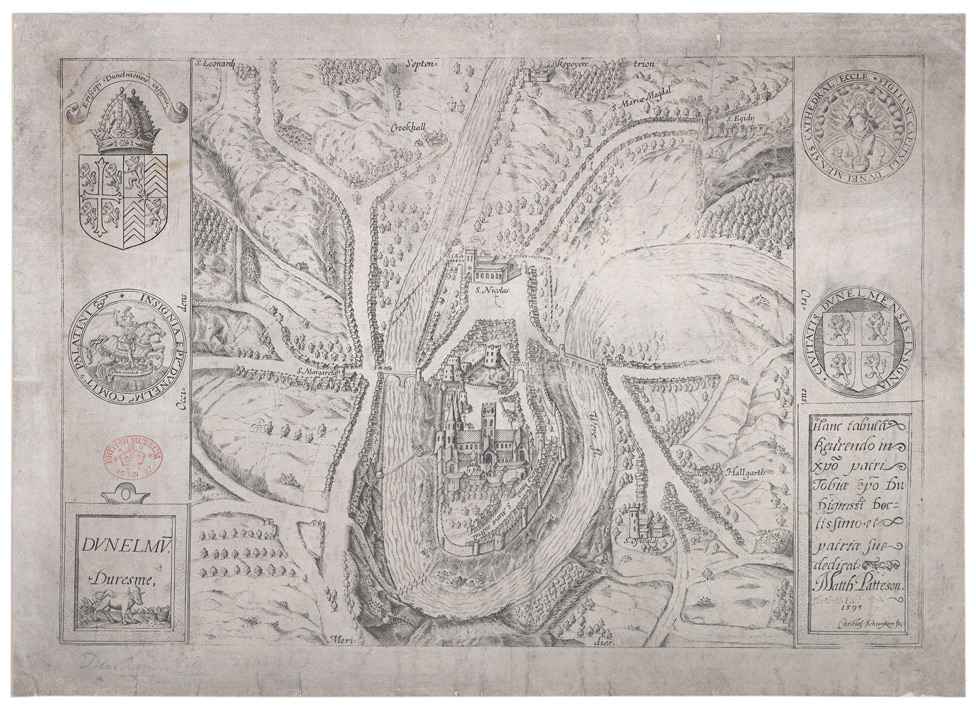 Christophe Schwyter's map of Durham,1595